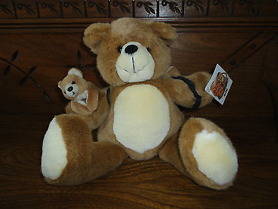 Ganz Back Pack Pals BEAR with Baby and Pouch 1997 H2708