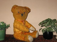 Antique 1930s Yellow Brown Dutch Van Gelden Jointed Teddy Bear Jumbo 21in. 53 cm