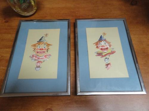2 Vintage Original Art CLOWN Faces Paintings Watercolors Pair OOAK