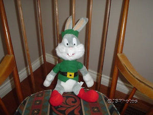 Play by Play Bugs Bunny Christmas Elf Plush 15in Looney Tunes Warner Bros 1998
