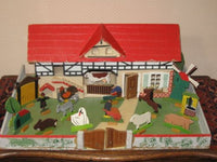Antique 1930s Gottschalk German Farm with Ore Mountains Animals Doll House