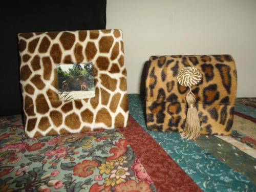 Leopard Plush Wooden Jewelry Box & Giraffe Plush Padded Wood Picture Frame