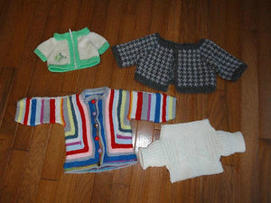 4 Handmade Knitted Sweaters for Dolls or Teddy Bears