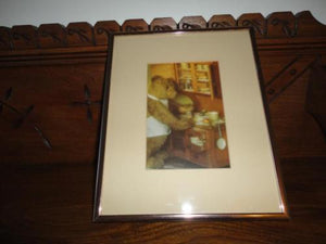 Antique Large Steiff Teddy Bear Baking a Pie Framed Glass Picture 10x8