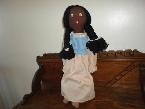 Vintage Dolly Handmade England Stuffed Cotton Doll with Braids 20 inch