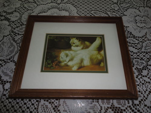 Vintage Persian Kittens Art Print Framed