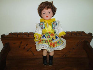 Antique Composition Germany Czech Doll 18 inch Brunette Glass Eyes Marked 46/3