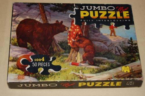 Vintage Jumbo Jigsaw Puzzle Bears with Fishermans Jacket Ralph Crosby Smith