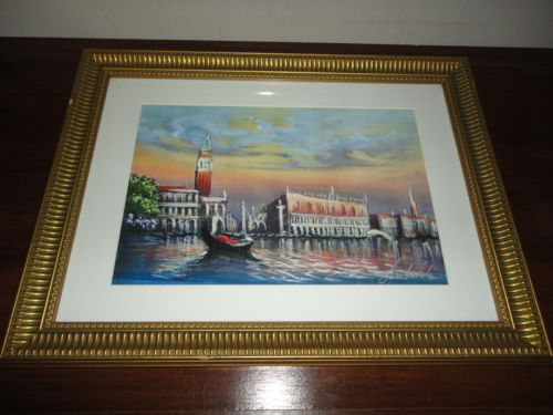 Lagoon Scene of Venice City Original Oil Pastel Painting Signed by the Artist
