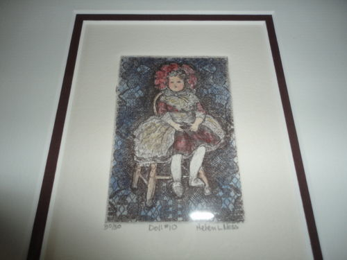 Canadian Artist Helen L. Ness Signed Nr 30/50 Print Doll #10 Wood Frame & Glass