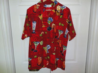 Bill Blass Mens Short Sleeve Sz S Red Casual Shirt Cocktails Martini Olive Drink