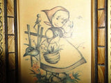 Original Bonnie Germany West Berlin Art German Girl w Basket & Birds Framed