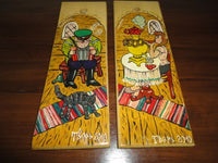 Original Russian Painted on Wood Art Cartoon Man & Woman Artist Signed