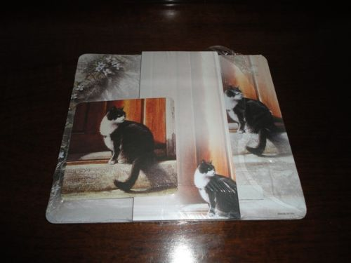 Advocate Art Black & White Cat Coaster Notepad Mouse Pad Sheets Set