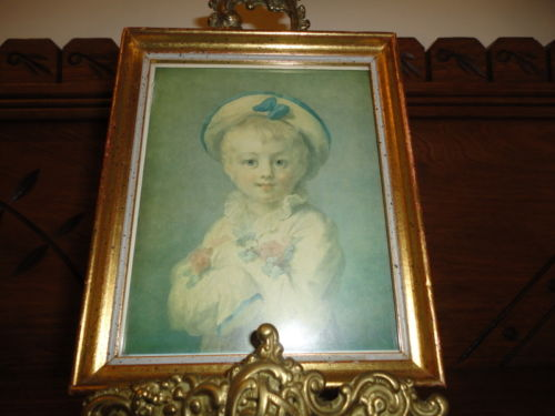 French Artist Jean-Honoré Fragonard A BOY AS PIERROT Framed Mini Art 5.5x4.5
