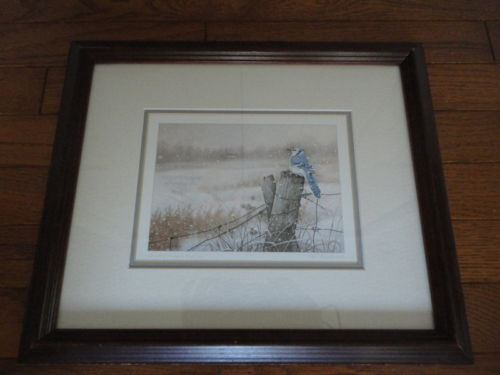 "UK / Canada Artist Neil Blackwell "" Country Church Blue Jay "" Print Framed 1988"