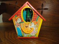 Vintage Original HK Metal Key Wind Up Bird House Plastic Bank Mechanical Works
