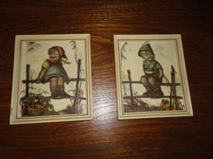 Vintage Hummel Bavaria Germany Art Print Set of 2 Boy and Girl Wooden Frame