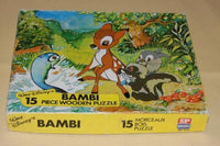 Vintage Walt Disney 15 Piece Bambi Thumper Flower Wood Puzzle 1979 Made England
