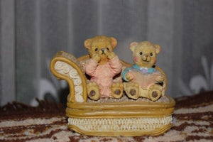Bear Figurine Statue Boy & Girl Reading a Scary Story Unique
