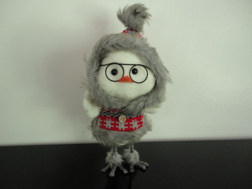 Chicken Little Stuffed Figurine Woolen Knitted Winter Outfit 9 inch