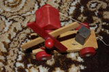 Antique 1950s Wooden Stacking Dog Toy & Windmill Wood Pulling Toys