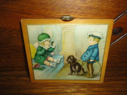 Antique 1930's British Empire Made Mini Art Print Girl & Boy w Dog Metal Hanger