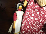 "Cillacraft Welsh Dolls Mother & Daughter Off to the Market 7"" Wooden w Tag"