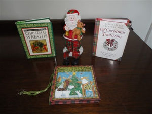Christmas Set of 3 HC Miniature Books & Santa Figure