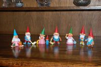 David The Gnome Set of 10 Assorted Rubber Toy Figures RARE