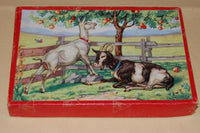 Vintage 1960s Wooden Jigsaw Puzzle 24 Pc Goats at Apple Tree Kolibri Netherlands
