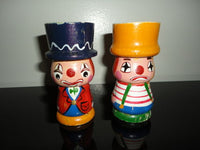 Vintage Hand Painted 2 Wooden Happy & Sad Clown Egg Cups