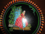 Antique Vintage Foil Art French Lady Glass Round Wood Frame