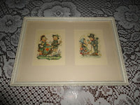 Antique 1950s Bavarian Germany Children Art Works Artist HANITZSCH Framed Set 2