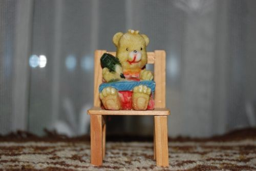 Child Girl Bear Figurine On Wooden Chair Coloring Drawing