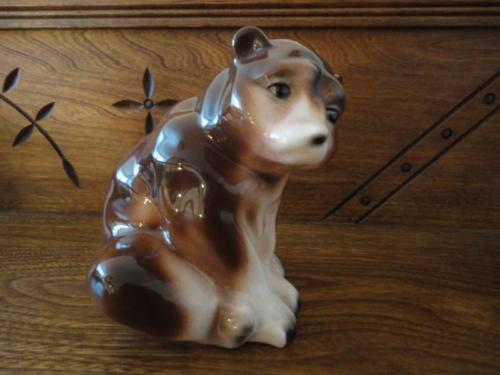 Vintage Russian Bear Brown Sitting Chubby Figurine Glossy Finish Russia Marked