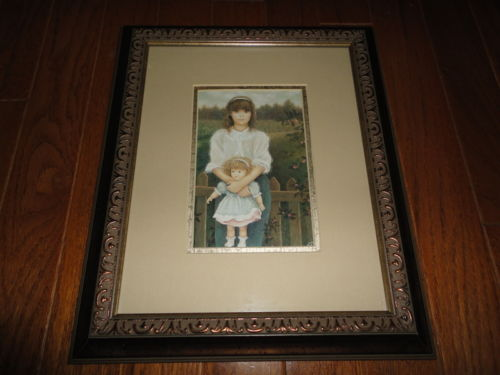 French Canadian Artist Chantal Poulin GIRL WITH DOLL Print Bronze Wood Framed