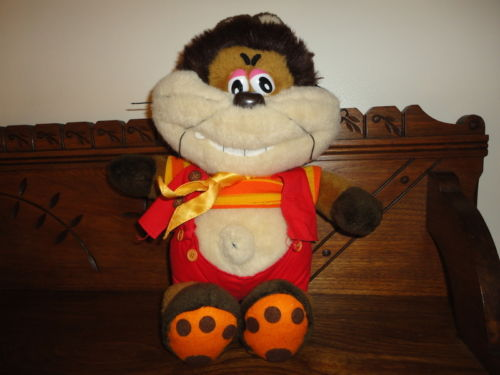 Funny Comical Tiger Cat Bear Plush w Belly Button Evil Wide Toothy Grin 16 inch