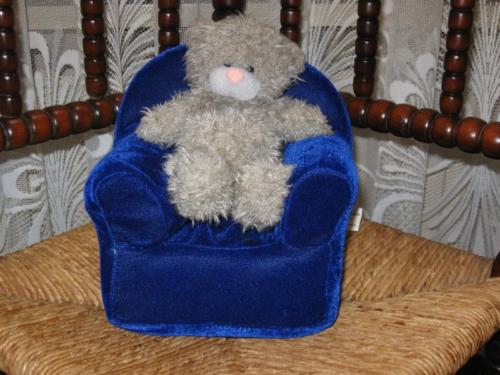 Teddy Bear Sitting in Velvet Arm Chair Pyramide Netherlands
