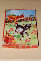 Vintage 60s Wooden Jigsaw Puzzle 24 Pieces Lambs in Field Pin-Kwin Netherlands