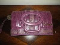 Authentic Marciano Leather Clutch Purse Purple with Silver Studs 3 compartments