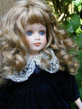 Gorgeous European Porcelain Doll 45 CM Dark Blue Velvet Dress