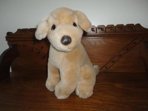 Sitting Golden Retriever Puppy Dog 12 inch Leatherette Nose