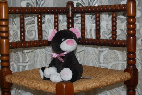 Black Kitty Cat Plush Holland Pink Bow 7 inch