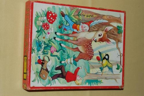Vintage 1960s BAMBI Deer & Gnome Forest Wooden Jigsaw Puzzle 20 Pc Kolibri NL