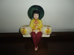 Antique Vintage Made in Japan Porcelain Lady Planter Wall Hanger Hand Painted