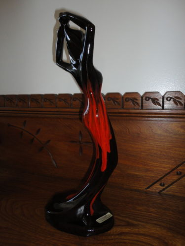 "Canada Canuck Pottery Quebec LABELLE Woman Statue Sexy Figurine 15"" Vintage"