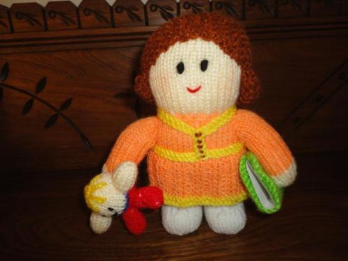 Handmade Knitted Little Girl Doll w Humpty Dumpty and Book One of a Kind 7 Inch