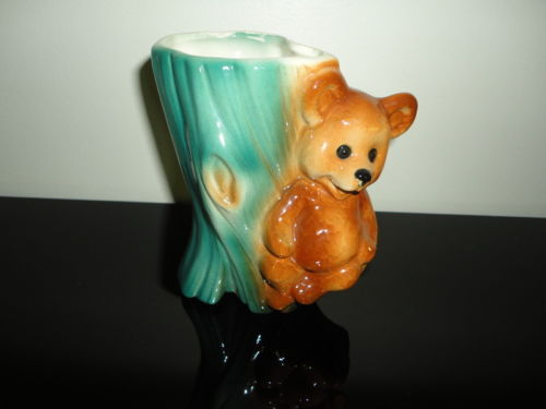 Vintage Retro Chubby Bear Sitting on Tree Stump Vase Planter Porcelain