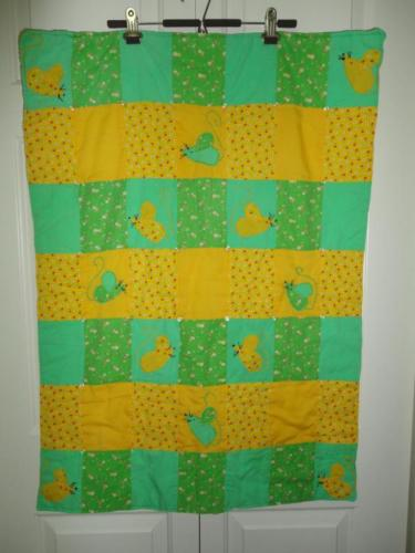 "Vintage Handmade Patchwork Quilt Cute Mice Green Yellow Flowers Cherries 36""x26"""